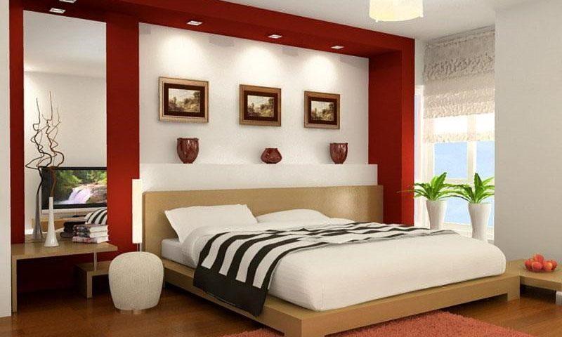 Màu đỏ làm điểm nhấn phòng ngủ