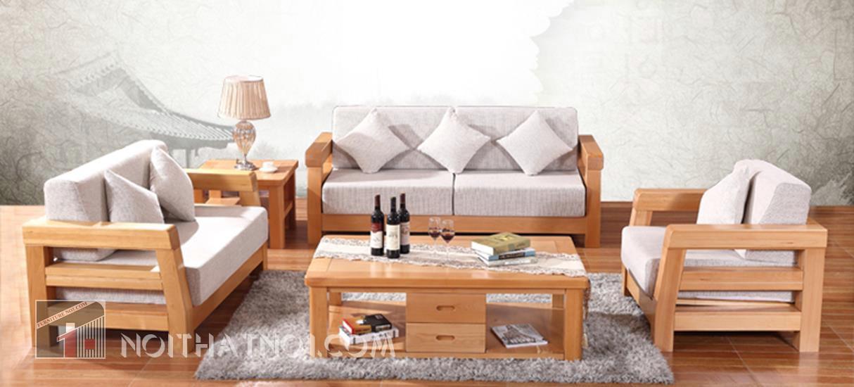 Bàn ghế sofa gỗ phòng khách nhỏ