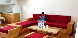 sofa gỗ hài hòa không gian phòng khách