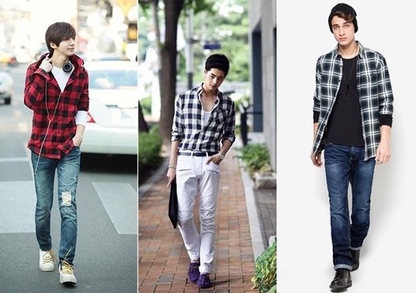 Sơ mi nam - quần jeans với nhiều kiểu biến tấu ấn tượng