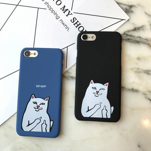 Ốp lưng Iphone 7 Plus mèo đen đáng yêu có dây đeo