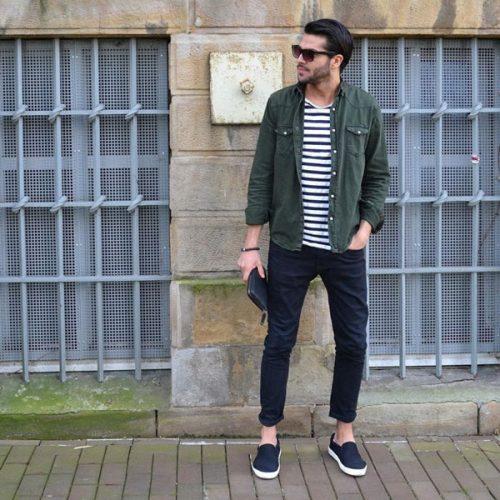Quần jeans và giày Slip on nam